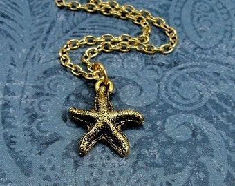 Starfish Necklace, Gold Starfish Charm on a Gold Cable Chain
