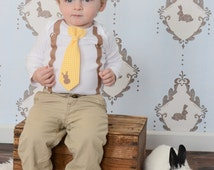Baby Boy Easter Outfit. Newborn boy easter clothes. Toddler boy easter. Gingham Bunny Spring Tie & Suspender with Rabbit toddler boys.