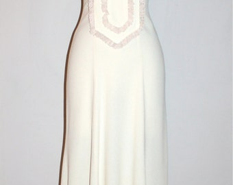 OSSIE CLARK for RADLEY Vintage Cream Moss Crepe Lace Maxi Dress - Authentic -