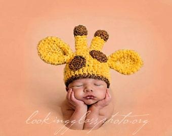 Crochet Baby Giraffe Beanie, Custom Made,  Newborn, 0-3, 3-6 Months, Boy Girl, Photo Prop, Baby Shower Gift, Animal Hat, Pink, Blue, Yellow