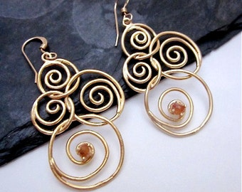 Spiral Dangles -- Citrine Drop Earrings -- Gold Swirl Earrings -- Citrine & Gold Earrings -- Citrine Gem Earrings --Gemstone Spiral Earrings