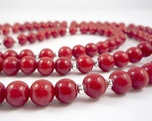 Long Red Necklace Beaded Red Gemstone Necklace Long Necklace Beaded Red Long Red Strand Cherry Red Beaded Long Red Mountain Jade Necklace