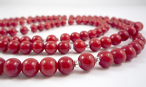 Long Red Necklace Beaded Red Gemstone Necklace Long Necklace Beaded Red Long Red Strand Cherry Red Bead Necklace Red Mountain Jade Necklace