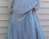 70s Blue Prairie Dress Vintage Lace XS S Long Full