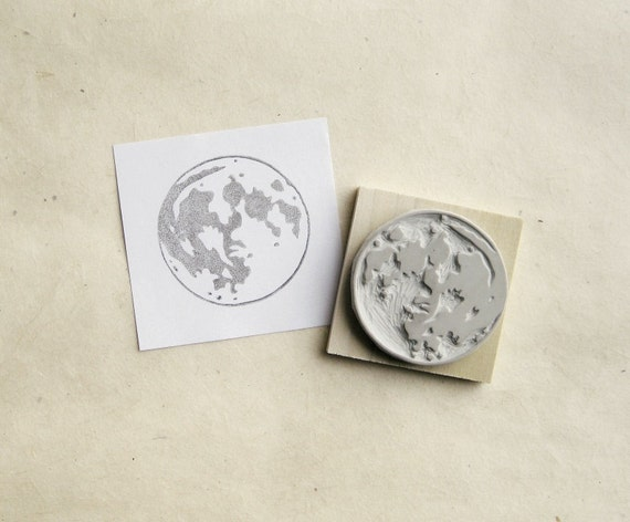 Full Moon Large Hand Carved Rubber Stamp By Extase On Etsy