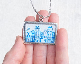 Amsterdam Necklace, Hand Painted Canal House Jewelry, Blue Holland Travel Gift Pendant