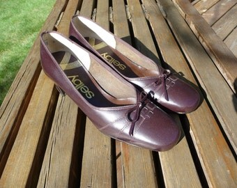 FRONT Page SALE!!!! Vintage 70s 80s Brown Leather Pumps, Selby, 5 B/2A, Unworn