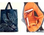 Embroidered Tote Bag, Orange Lining, Quilted Shoulder Bag, Autumn Shopping Bag, Women's Bag, Black & White Leaves, Fall Fashion Handmade Bag