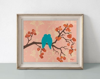 Bird Print, Bright Wall Art, 11 x 14 inches