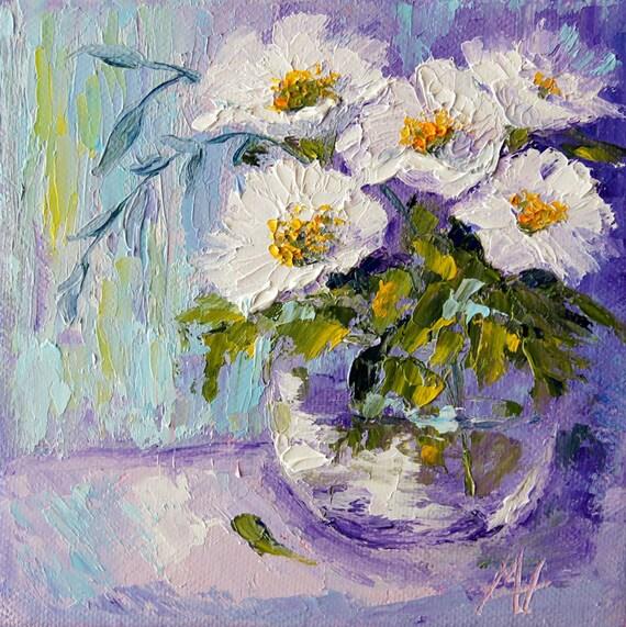 Original peinture florale bouquet blanc nature morte for Bouquet de fleurs nature