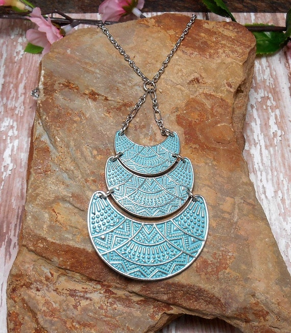 Blue Tribal Triple Moon Necklace - Moon Necklace - Crescent Moon - Bohemian Moon - Moon Goddess
