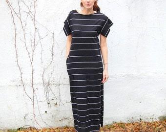 SALE!!!!!!!!!! Black striped knit maxidress 1990s 90s VINTAGE