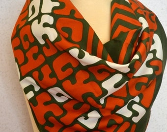 Alphabet Letters Green, Burnt Orange and White Vintage Square Scarf