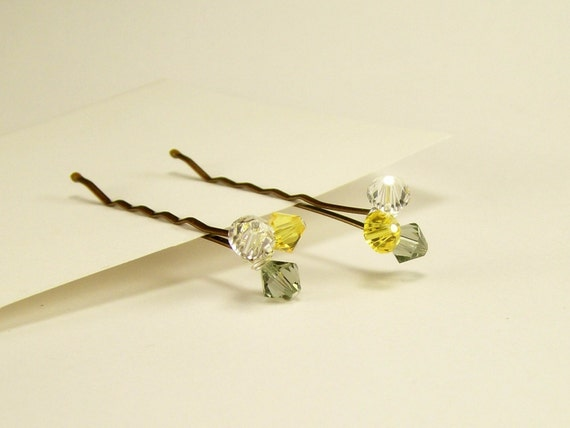 Crystal Beaded Bobby Pins~Hair Accessory~ Beaded Swarovski Grey Yellow Clear Silver Bobby Pins~Everyday Ware Bridal Bridesmaids~Handmade