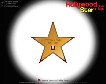 Hollywood Star Favor Tag DIY Printable PDF Movie
