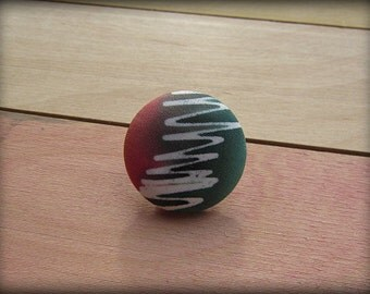 Covered Button Brooch Pin in Orange Green  Hand Painted Silk