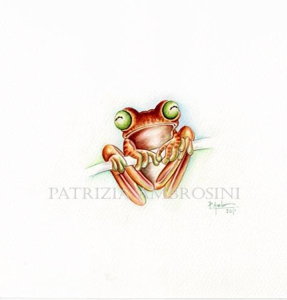 ORIGINAL watercolour -FROG-handpainted-illustration animal art collection