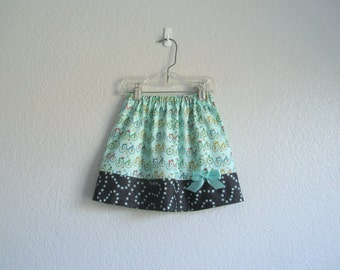 New! Bicycle Skirt - Little Girls Aqua Skirt with Bikes - Aqua and Navy Blue Skirt - Size 12m, 18m, 2T, 3T, 4T, 5, 6  or 7