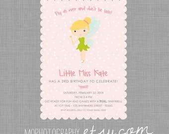 Sweet Pink Tinkerbell - Party Invite - Pink, Grey, Green, White - 26 Printed Invites with Scalloped Edge
