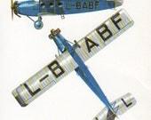 vintage Airplane print 1920s Blue aircraft illustration boy bedroom plane airplane decor