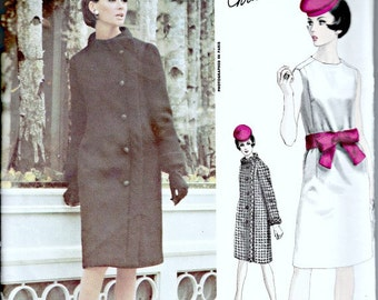 RARE Christian Dior Vogue Paris Original Pattern  VOGUE 1439  1960s Retro Designer Pattern Dress & Coat Ensemble  Bust 32