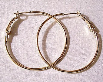 Round Tube Hoops Pierced Earrings Gold Tone Vintage Extra Large Round Thin Rings Spring Support Clips
