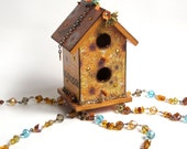 Birdhouse Suncatcher Beaded Bohemian Bumblebee Beehive Outdoor Garden Decor Boho Bee Decor