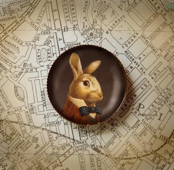 Rabbit Brooch - Rabbit Portrait Pin - Victorian Portrait Brooch - White Rabbit - March Hare - Bunny Rabbit