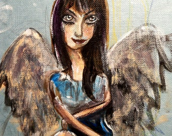 Fairy painting, original artwork. Dark fairy on recycled book cover.