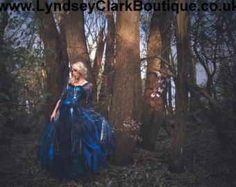 Popular items for gypsy wedding dress on etsy for Blue gothic wedding dresses