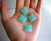 Ice Blue Square Glass Briolettes Beads Light Cloud Blue Wavy Semi Translucent 4 Pieces 16mm Square