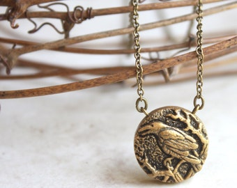 Crow Necklace - Gold Raven Pendant Necklace - Bird Charm - Bird Jewelry -  Crow Art - Nature Jewellery - Hand Carved Bird Pendant