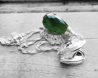 Get 15% OFF - Silver Heart Locket Dark Green Crystal Wire Wrapped Pendant Sterling Silver Plated Necklace - Labor Day SALE 2017