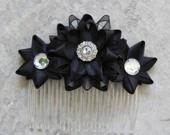Black Hair Piece, Flower Hair Piece, Black Wedding Hair Accessories, Black Flower Comb, Flower Hair Comb, Black Bridesmaid Hair Piece