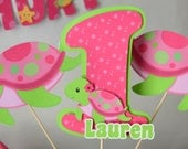 Pink Girl TURTLE First Birthday Party or Baby Shower Decorations - CENTERPIECE - Personalized Name/Age