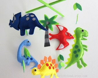 "Baby Mobile - dinosaur Crib Mobile - ""Jurassic story""  - Handmade Nursery Mobile (Match your bedding)"