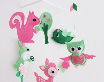 """Baby Mobile - Nursery Mobile - Baby Girl crib Mobile - """"Woodland Party """" Mobile  (Custom Color Available)"""