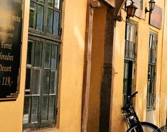 Copenhagen Photography - Street Photography - Architecture Print - Denmark Photo - Bicycle Windows Yellow Menu Wall Art - Home Decor