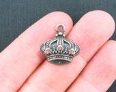 6 Crown Charms Antique Copper Tone - BC984
