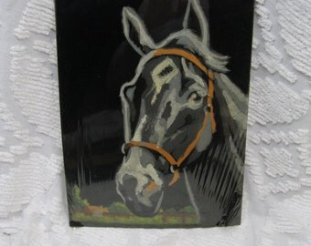 1970s Paint by Number Black Horse Painting  - PBN Picture, ready to frame