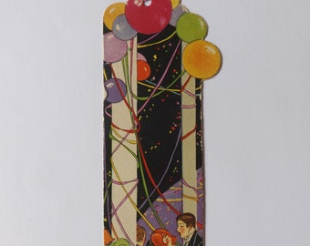 Art Deco 1920s 1920's lady party carnival bridge tally card flappers dancers and balloons Henderson Line with tassel