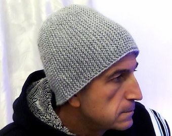 Light Grey Warm Mens' Knitted Hat, Winter hat, Men's Knit Hat, Slouchy beanie, Gray ski cap, man, Gift Ideas for Him