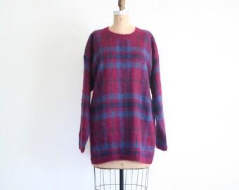 80s plaid tartan mohair sweater - vintage grunge sweater / 90s plaid sweater - magenta & blue plaid sweater / 80s fuzzy crewneck sweater