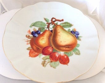 Winterling German Porcelain Fruit Plate Bavaria Schwartzenbuch - gilded - pears gooseberries blueberries fruit pattern - dessert plate