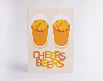Cheers Beers Card Birthday Celebration Greetings Card