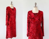 1920s Dress / 20s BURNOUT Velvet Flapper Dress / S XS