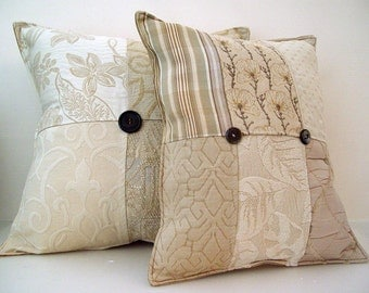 White Sale-Neutral Pillow Set of 2-Upscale Urban Girl- Designer Fabric