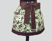sassy half apron -retro -womens- green and brown floral -gathered waist -with pocket -daisydots - DaisyDotsDesign