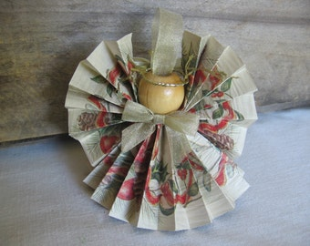 Beige Angel Christmas Tree Ornament U-Pick Trim Color Pine Cone Ribbon Paper Ribbon Angel Ornament SnowNoseCrafts