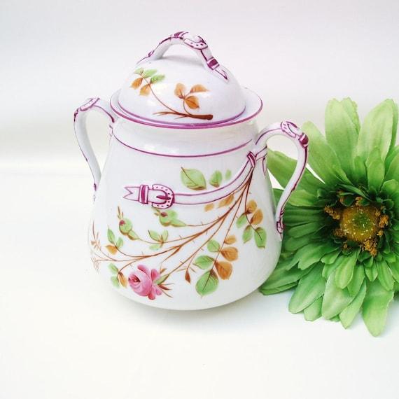 Antique Canister, Biscuit Jar,  Ice Bucket, Porcelain Cookie Jar Belt Buclet Decor, Purple Green Lidded Container